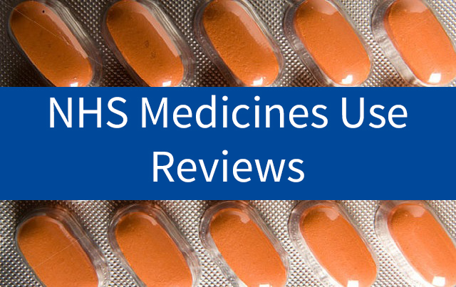 An image of tablets with the words 'NHS Medicines Use Review' displayed over it